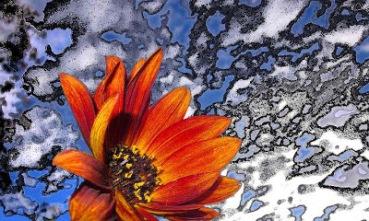 Digital flower looking up