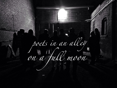 iphone bw poets in an alley on a full moon